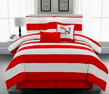 7 piece Microfiber Nautical Themed Comforter set Red & White Striped, Queen size