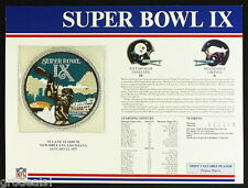 SUPER BOWL 9 ~ STEELERS / VIKINGS Willabee & Ward OFFICIAL NFL SB IX PATCH CARD
