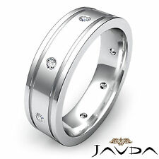 Beautiful Diamond Men Ring Flat Edged Eternity Wedding Band 18k White Gold 0.2Ct