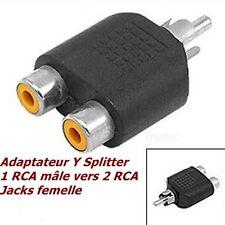 adaptateur RCA audio vidéo universel Splitter Y RCA mâle et 2 RCA femelles