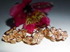 Unique Genuine 14k Rose Gold Ring and Earrings Set Plumeria Hibiscus Flower