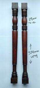 "Vintage TURNED WOOD FURNITURE Spindle Decorative Column Mount 37cm 14"" Pair"