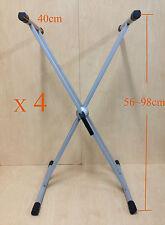 4 x KS002 Double Braced Keyboard Stand,Silver-grey,Height Adjustable,Easy Gear