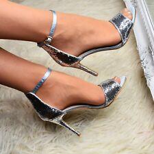 Sandalias Para Mujer Lentejuelas Satén y Correa en el tobillo Tacones Boda Fiesta Ocasión Zapatos