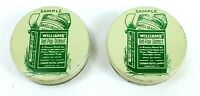 Vintage WILLIAMS' ANTI-PAIN OINTMENT Sample TIN MEDICINE JARS Lot of 2 EMPTY