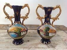 Pair Stunning Pereiras Valado Portugal Cobalt Blue Gold Gilded Ewers Vase