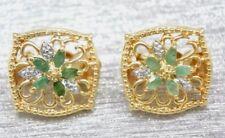 Clips de oreja Esmeralda Pendientes Diamante Plata ley 925 Bañado en oro