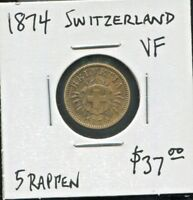SWITZERLAND - BEAUTIFUL HISTORICAL BILLON 5 RAPPEN, 1874 B, KM# 5