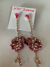 Betsey Johnson ROSEGOLDTONE Stone Imitation Pearl Flamingo Drop Earrings M8