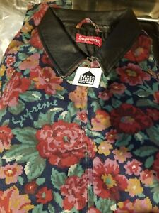 Supreme leather Collar Work JACKET Digi Floral 2020 In HAND, size Large 2020 fw