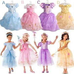 Girl Fairytale Dress Costume Belle, Aurora, Rapunzel, Cinderella size 2-10