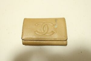 Authentic CHANEL CC Logo Caviar Skin Beige Leather Key Case #8497