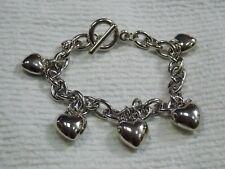 """Silver Heart Charm Bracelet 8 1/2"""""""