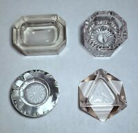 """MIXED Lot of 4 Antique Vintage Open Salt Cellars Crystal Ashtray - 3"""" and up"""