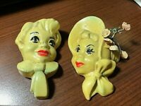 """Vintage - CHALKWARE Boy and Girl Head Plaques - Wall Hangings 4"""" x 3"""" approx."""