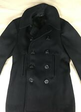 Vintage WWII 10 Button Pea Coat Chinstrap Corduroy Pockets SMALL Navy Naval Blue