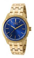 New Mens Invicta 19215 Blue Dial Gold Tone Bracelet Watch