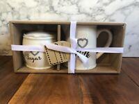 Blue Harbor Sugar & Milk Set Tea Art Heart Gray Collector Gift Home Decor New