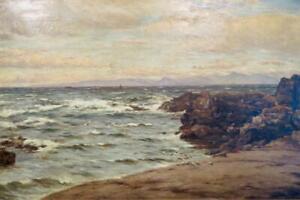John James Bannatyne SCOTTISH Antique Original OIL PAINTING West Coast Scotland