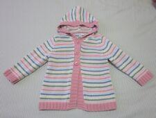 Greendog hooded knit cardigan, long sleeve, multi-color, striped, cotton, 24m