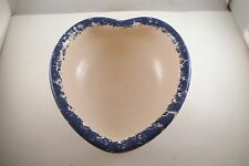 Vintage East Texas Pottery Heart Shaped Blue Spatter Bowl