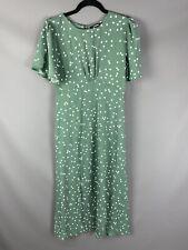 BNWT Missguided Size 10 Flutter Sleeve Midi Dress Green White Polka Dot