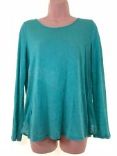 BNWOT MONSOON turquoise green linen long sleeve loose fit blouse top size 8 36