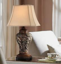 Traditional Table Lamps Bronze Curling Leaves Tan Shade for Living Room Bedroom