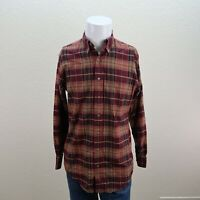 Charles F Orvis Signature Collection Red Wool Flannel Plaid Casual Shirt Mens M