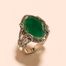 Natural Grass Green Onyx Marcasite Gems 925 Sterling Silver Ring Wedding Jewelry