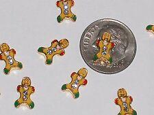 4 Miniature tiny Golden Little Christmas Gingerbread man men bead floating charm