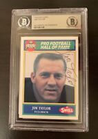 Jim Taylor Signed Card Beckett Autograph Swell BAS Auto HOF Packers