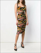 3.7k NWT Auth Dolce & Gabbana Dress Floral Ruched Midi Build-In Bra Sz 46 Italy
