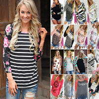 Women Long Sleeve Floral Print Shirt Casual Blouse Cotton Tops T-shirts Pullover