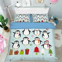3D Winter Penguin 67 Bed Pillowcases Quilt Duvet Cover Set Single King UK Summer