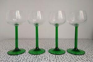 60s 70s Vintage Retro Luminarc France Etched Green Stem Hock Wine Glasses x 4