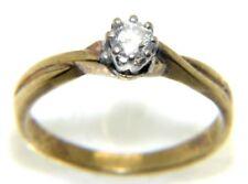Mujer, Oro de 9 quilates compromiso anillo con un diamante, tamañO RU O