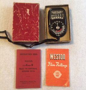 Vintage Weston Master II Exposure Meter w/ Box & Manual **Responds**