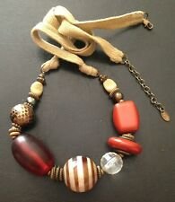 FROM DESIGN 'NEXT' - PRELOVED CHUNKY COLOURFUL NECKLACE w CORD TIE