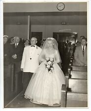 Vtg 8x10 Photo Pretty Bride & Father Walking Down Church Aisle, 1950's, Dec15