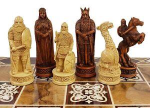 "Antique Ivory & Brown Norse Viking Chess Men Set 3 1/4"" King - NO BOARD"