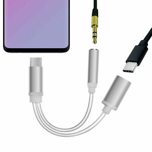 USB C zu auf 3,5 mm Klinke AUX 2 in 1 Adapter Kopfhörer Audio Handy Kabel