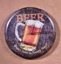 Beer Mug Metal Wall Clock Every Hour is Happy rustic vintage home bar art decor