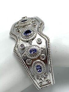 Dallas Prince Sterling Silver Hinge Cuff Bracelet Tanzanite & White Zircon