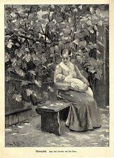 Der Künstler Carl Priem Mutterglück Frauenbildnis Historischer Kunstdruck 1905