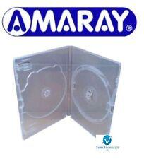 100 Doppie chiaro DVD Case 14 MM SPINE NUOVO RICAMBIO COPERTURA fianco a fianco Amaray