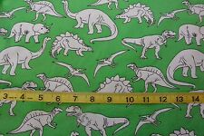 Dinosaur Outlined Sketch Design Toss Green Cotton Flannel Fabric BTY