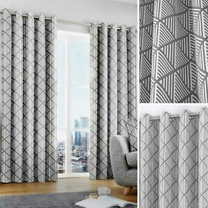Grey Eyelet Curtains Geometric Modern Ready Made Lined Ring Top Curtain Pairs
