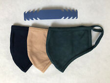 3 pack - Blue Green Tan Face Mask Medium Adult - Cotton Blend Washable w/ strap