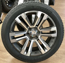 "2018 GMC Sierra Yukon Denali Alloy & Midnight Silver 22"" Wheels Rims Tires TPMS"
